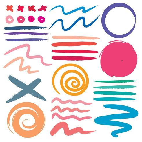Set de pinceaux coloré divers vecteur