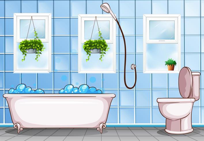 Salle de bain avec baignoire et toilette vecteur