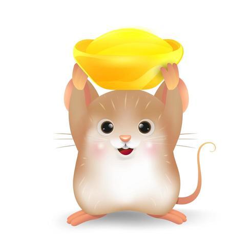 Rat brun avec lingot d'or chinois vecteur