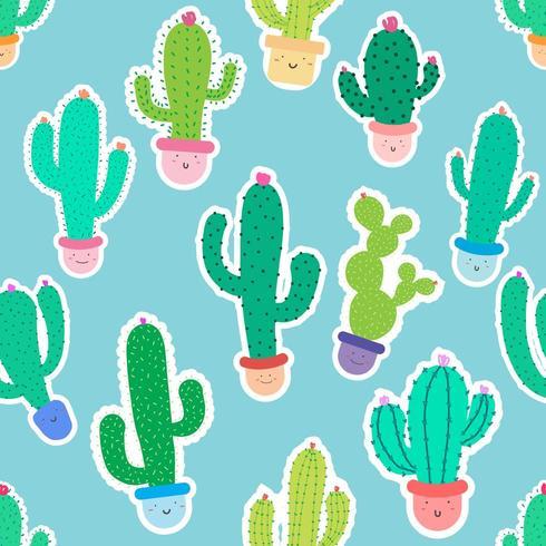 Modèle sans couture de cactus en pot vecteur