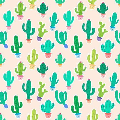 Cactus en pot mignons sur fond rose sans soudure vecteur