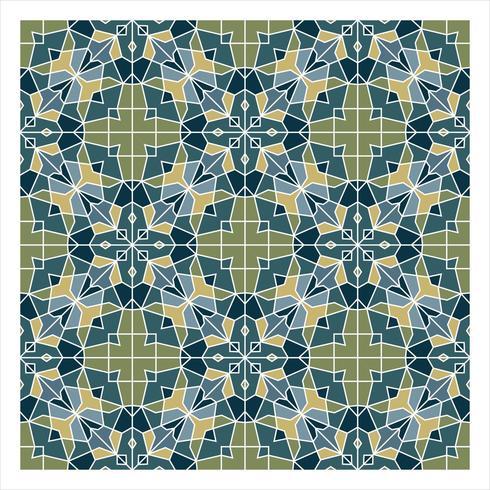 Modèle sans couture géométrique bleu et vert vecteur