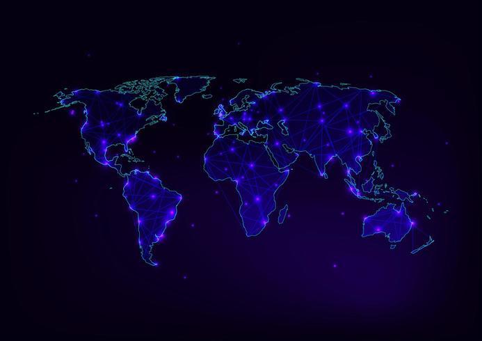 Carte du monde en maille avec contour des continents faite de lignes, points, étoiles et triangles vecteur