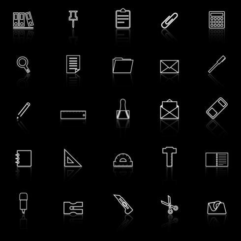 Icônes de ligne de papeterie avec réflexion vecteur