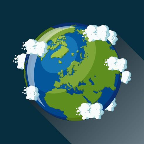 Carte de l'Europe sur la planète Terre vue de l'espace vecteur
