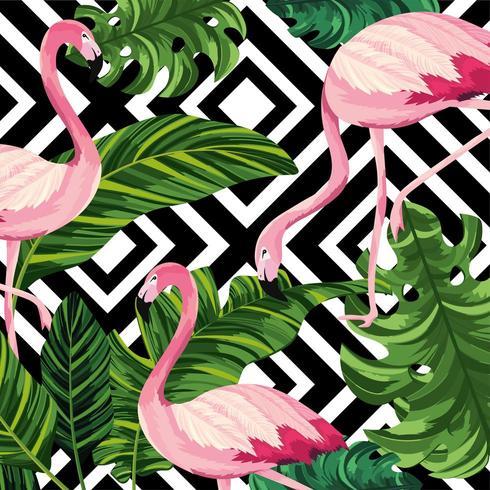 motif de feuilles tropicales avec flamants roses et diamants vecteur