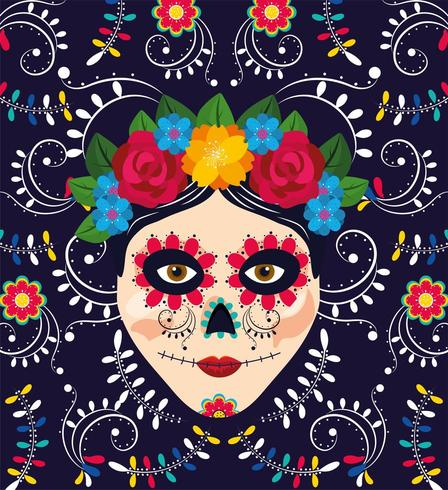 décoration de crâne de femme avec des fleurs pour un événement mexicain vecteur