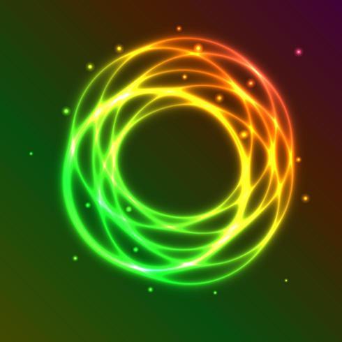 Abstrait avec effet de cercle de plasma coloré vecteur