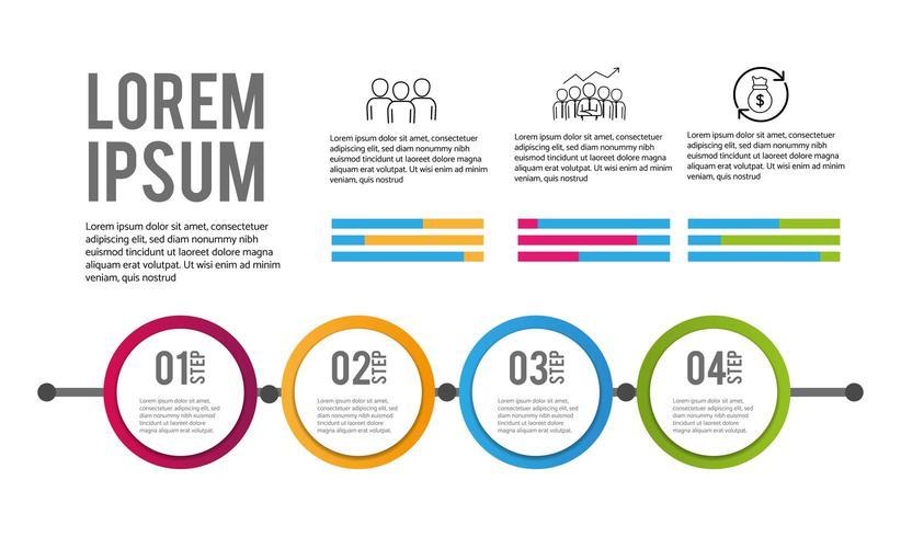 Plan d'informations commerciales en 4 étapes infographiques vecteur
