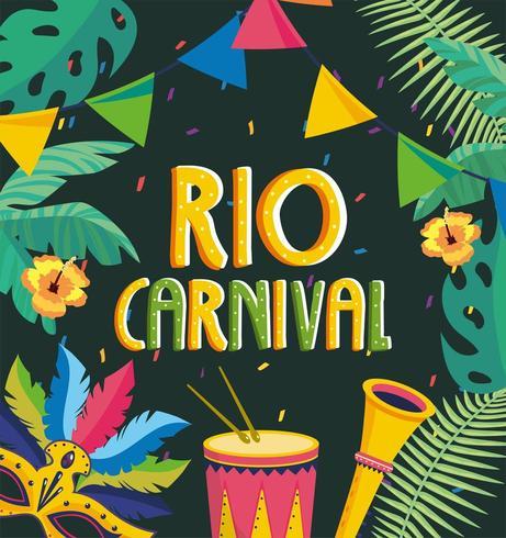 bannière de fête avec tambour et trompette pour le carnaval de rio vecteur