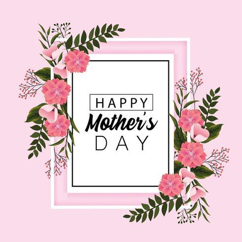 carte de fête des mères avec des fleurs et des feuilles vecteur
