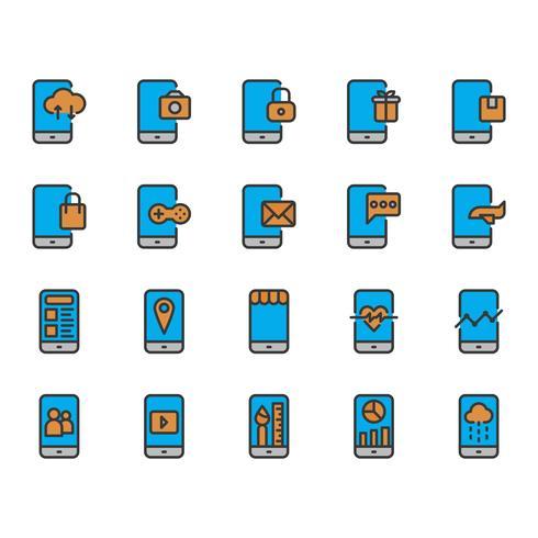 Jeu d'icônes d'application mobile vecteur
