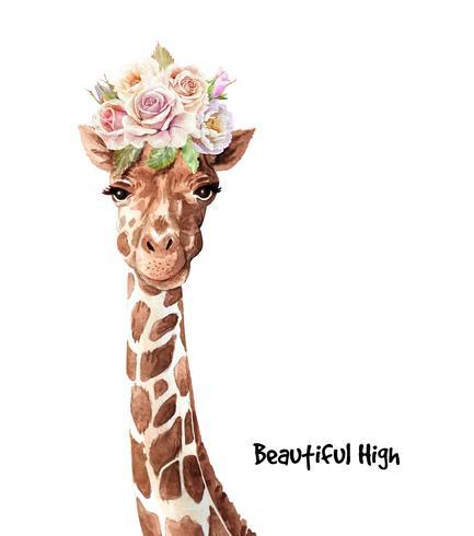 Aquarelle portrait de bouquet de roses sur la tête de girafe vecteur