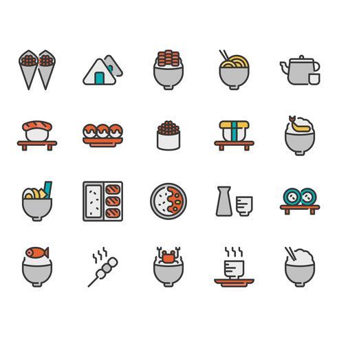 Jeu d'icônes de cuisine japonaise vecteur