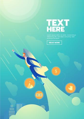 Affiche de démarrage homme d'affaires avec texte vecteur
