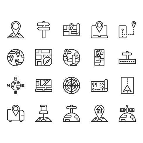Jeu d'icônes de carte et de navigation vecteur