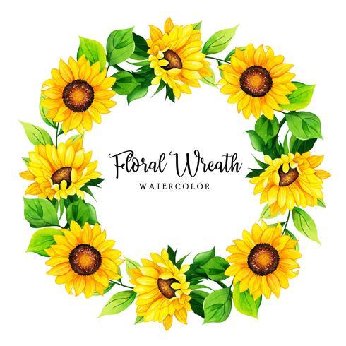 Cadre de couronne florale aquarelle vecteur