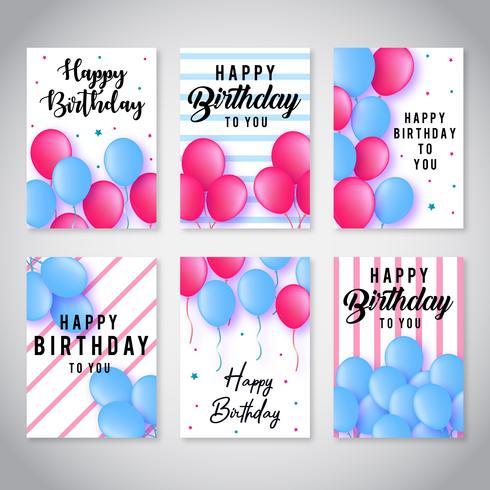 Collection de cartes de joyeux anniversaire vecteur