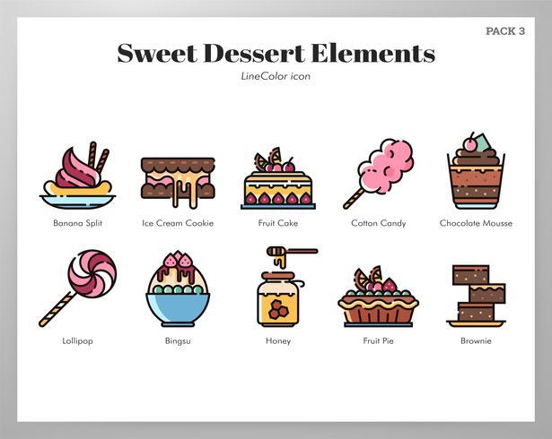 Pack de desserts sucrés vecteur