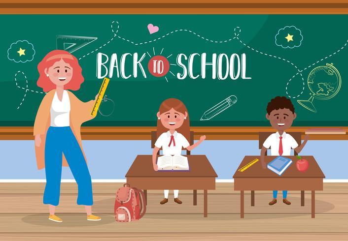 Une enseignante avec un message de retour à l'école à bord vecteur