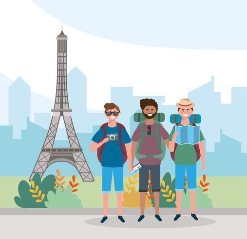 Amis de sexe masculin devant la tour Eiffel vecteur