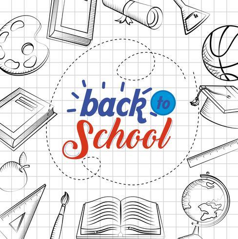 Affiche de retour à l'école avec des dessins sur papier millimétré vecteur