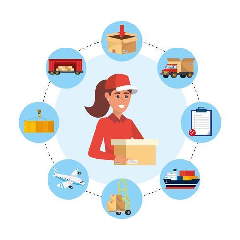 Femme de livraison entourée d'icônes de livraison vecteur