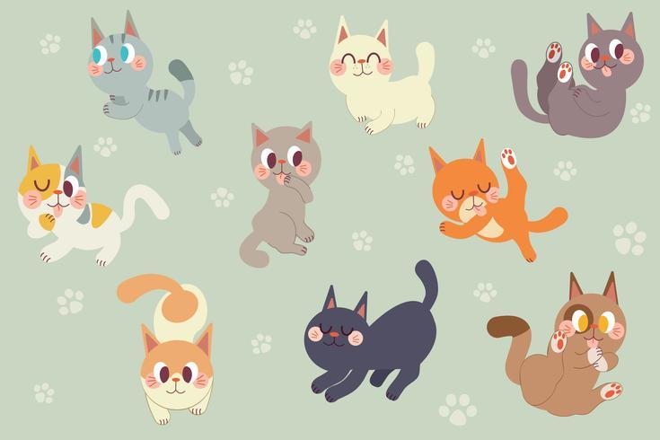 Pack de personnages de chats de dessin animé mignon vecteur