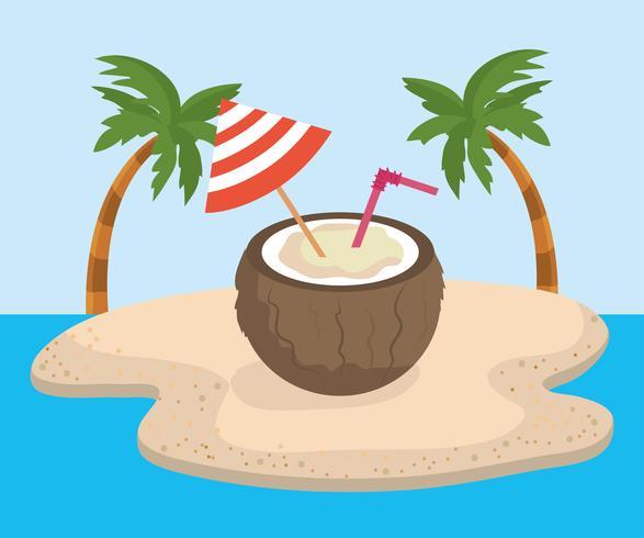 Boisson à la noix de coco avec décoration de parapluie vecteur
