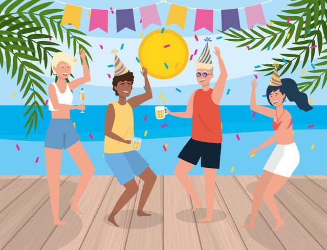 Hommes et femme dansant à la fête de l'été vecteur