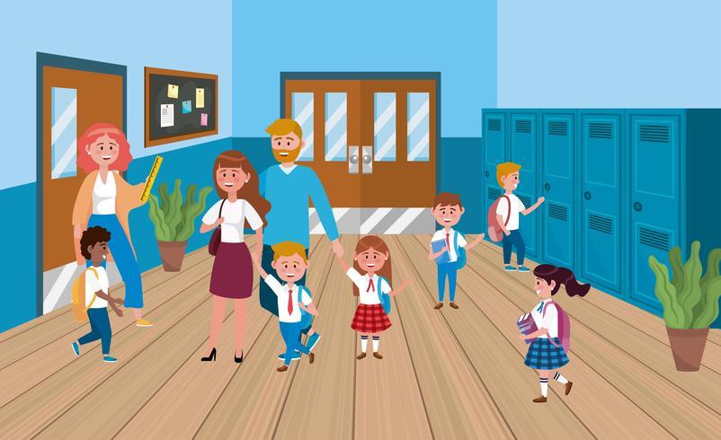 Enseignante avec mère et père avec étudiants vecteur