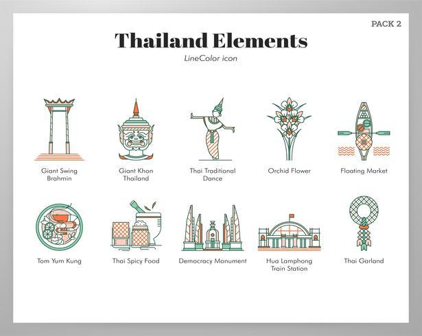 Éléments de Thaïlande LineColor Pack vecteur