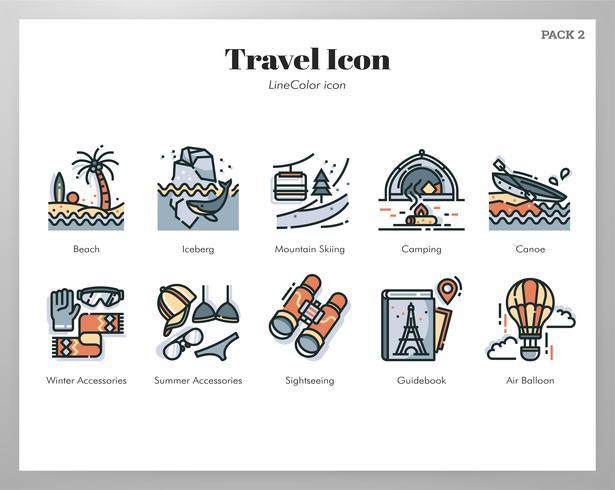 Pack d'icônes de voyage vecteur