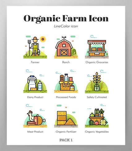 Icônes de la ferme biologique vecteur