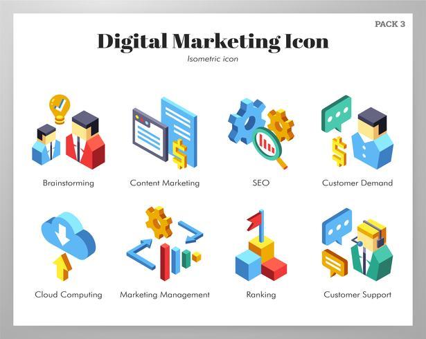 Pack d'icônes marketing numériques vecteur