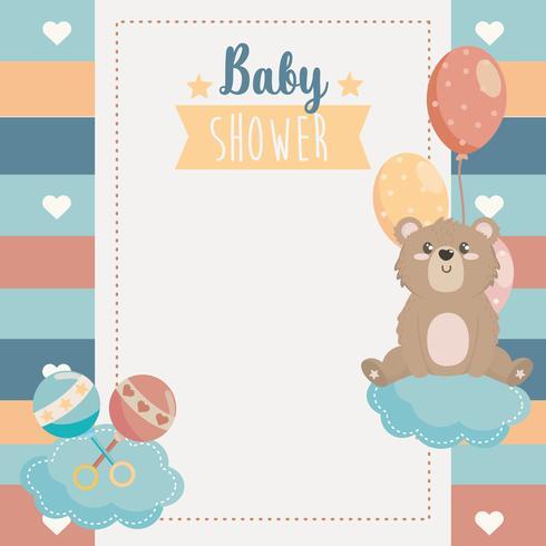 Carte de douche de bébé avec ours sur le nuage avec des ballons vecteur