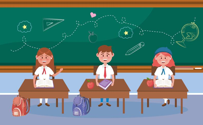 Fille et garçon étudiants aux bureaux dans la salle de classe vecteur