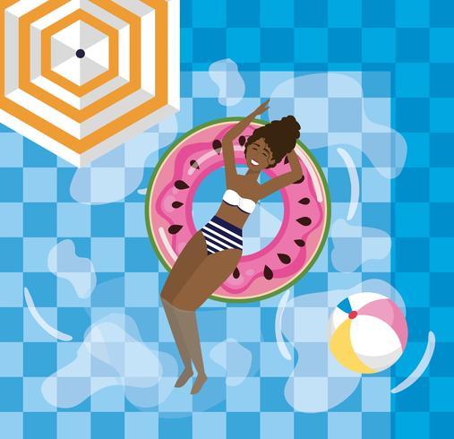 Femme se détendre dans la piscine de melon d'eau vecteur