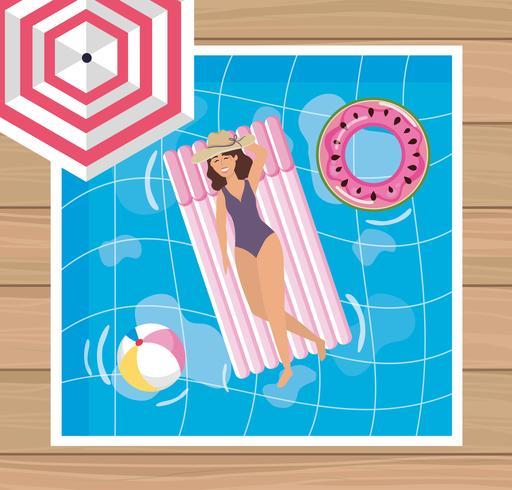 Vue aérienne, de, femme chapeau, sur, flotteur piscine vecteur