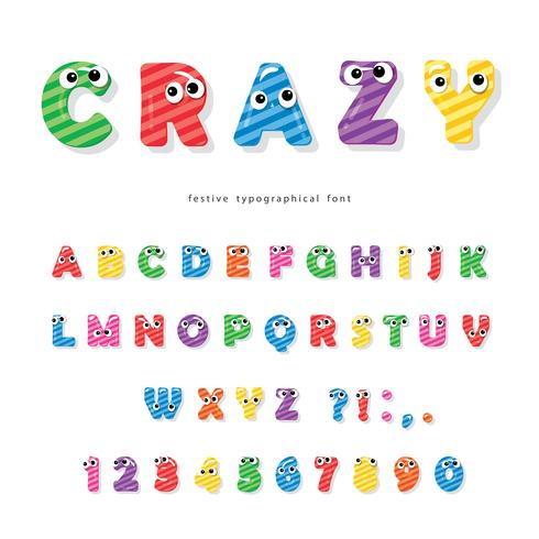 Police des enfants drôles avec des yeux. Cartoon brillant lettres et chiffres colorés. vecteur