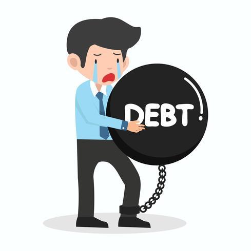 Homme d'affaires triste avec un gros poids de la dette vecteur