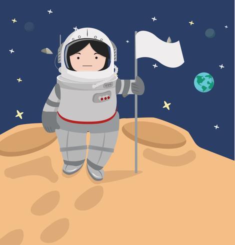 Petite fille astronaute dans un espace vecteur