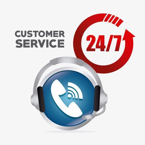 24-7 emblèmes de service clientèle vecteur