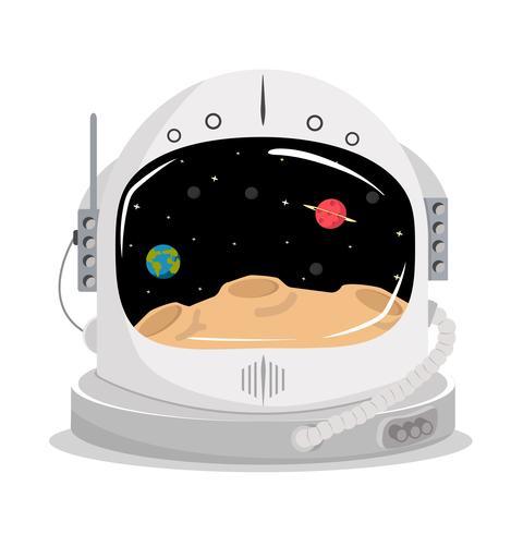 casque de l'espace avec la planète dans la visière vecteur