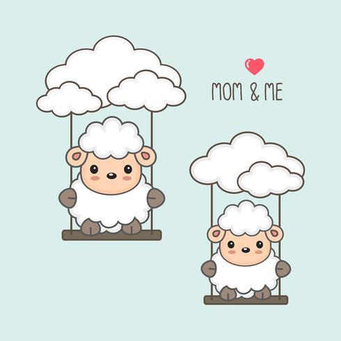 Moutons et bébé se balancent dans le ciel. vecteur