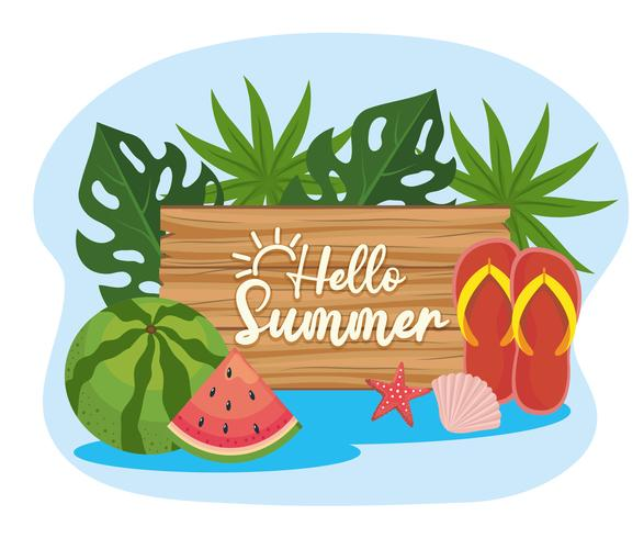 Bonjour l'été signe avec la pastèque et des tongs vecteur