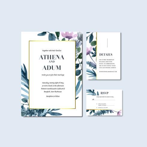 Invitation de mariage floral tropical et collection de cartes RSVP vecteur