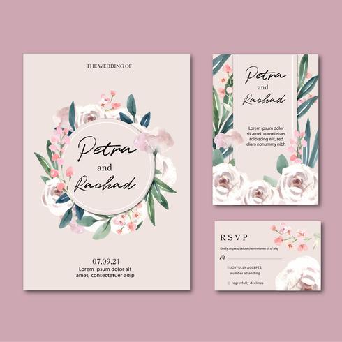 Collection d'invitations de mariage de jardin floral vecteur