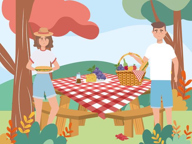 Femme, homme, pique-nique, table vecteur