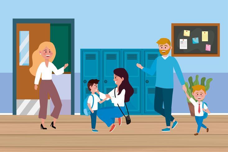 Parents d'enfants à l'école devant des casiers à l'école vecteur